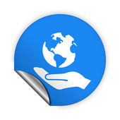 Globe in hand icon — Stock Vector