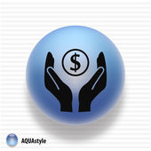 Money in hands icon — Vector de stock
