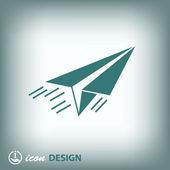 Icono de avión de papel — Vector de stock