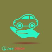 Auto a icona della mano — Vettoriale Stock