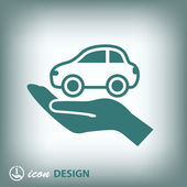 Car on hand icon — Stock vektor