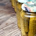 Jars of preserved gherkins — Stock Photo #51288891