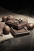 Chocolate with ingredients — Stock Photo