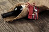 μπουκάλι κόκκινο κρασί με ένα μήνυμα — Φωτογραφία Αρχείου