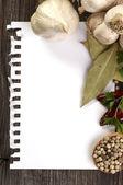 Примечание для рецепта с пряностями — Стоковое фото