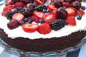 Chocolate cake with whipped cream and fruits — Stock Photo