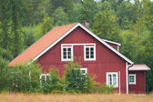 Red swedish wooden house — Stock Photo