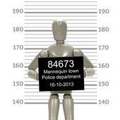 Mannequin in mugshot — Stock Photo