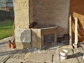 Building an outdoor fireplace — Stock Photo