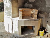 Building an outdoor fireplace — Stockfoto