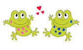 Frog Lovers. Lovers of the frog. Toad. Dancing frogs. Two frogs. — Stock Vector