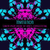 Scary Invitation Card with blots and splatters. — Vector de stock