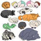 Set of sleeping animals and baby — Stock Vector