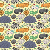 Seamless pattern with sleeping animals and baby. — Stock Vector