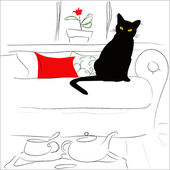 Kočka na posteli — Stock vektor