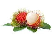Rambutan with leaves isolated on white background — Stock Photo