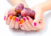 Women's hands holding branch of red grape — Stock Photo