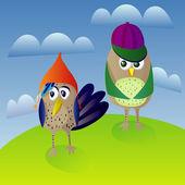 Cool bird walk — Stock Vector
