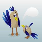 Bird mom and baby bird talk — Stock Vector