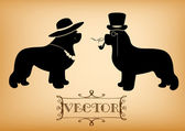 Vector Lady and Gentleman illustration with newfoundland dogs — Stock Vector