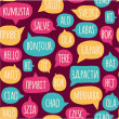 Seamless pattern with speech bubbles with the word hello in different languages — Stock Vector #51800167