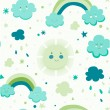 Cute seamless pattern with cloud, sun and rainbow. — Stock Vector #51800581