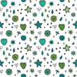 Cute seamless pattern with flowers hearts and stars — Stock Vector #51800693