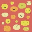 Funny happy smiley faces — Stock Vector