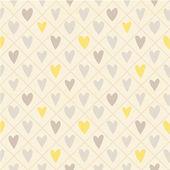 Patrón lindo inconsútil con mano dibujado corazones y cuadros — Vector de stock
