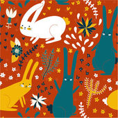 Cute seamless pattern with bunnies and plants — Stock Vector