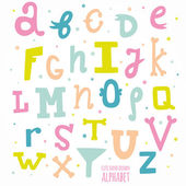 Multicolor hand drawn alphabet — Vector de stock