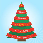 Christmas tree with red ribbons — Stock Vector