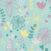 Cute seamless pattern with flowers and birds. — Stock Vector