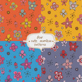 Collection of four beautiful pattern with flowers and cute details — Vetorial Stock