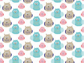 Fun seamless pattern with owls. — Stock Vector