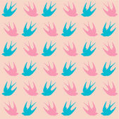 Seamless colorful pattern with swallows — Stock Vector