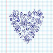 Schizzo romantica carta da parati con fiori. — Vettoriale Stock