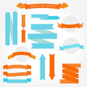 A set of retro style banners and arrows. — Stock Vector