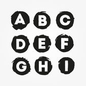 Grunge alphabet from A to I. — Stock Vector