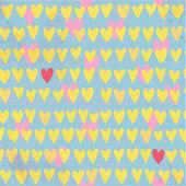 Romantic seamless pattern with small hand drawn hearts — Stockvektor