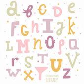 Multicolor hand drawn alphabet — Stock Vector