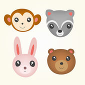 Set of cute animal head. — Stock Vector