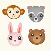 Set of cute animal head. — Stock Vector