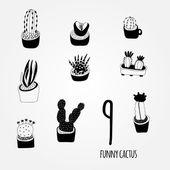 Black and white cartoon cactus set — Stock Vector