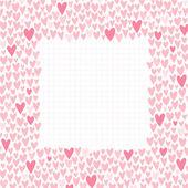 Romantic cartoon border. Cute love hearts frame for invitations — Stock Vector
