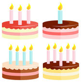Set of birthday cake isolated on white. — Stock Vector
