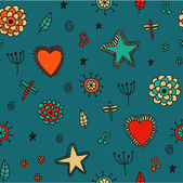 Cute seamless pattern with flowers hearts and stars. — ストックベクタ