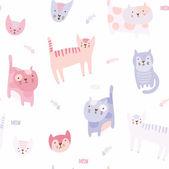 Satz von niedlichen Cartoon Katzen. — Stockvektor