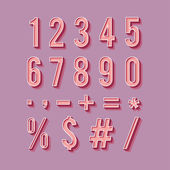 Set of retro numbers and symbols — Stock Vector