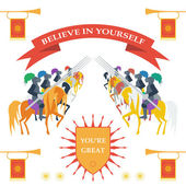 Bright colored illustration in trendy flat style  with brave knights on the horses with motivation slogan — Vetor de Stock